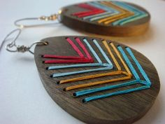 Embroidered Wood Chevron Earrings  by @IbbyAndRufus, $23.00 #earrings #jewellery #accessories #wood #embroidered #thread #colourful