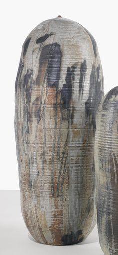 "TOSHIKO TAKAEZU ""MOON POT"" glazed earthenware 41 1/4  in. (104.8 cm) high circa 1990"