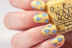 Yellow and Blue Heart Nail Art