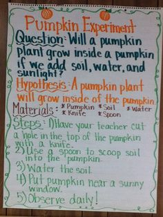 Another pinner said: A Pumpkin Experiment  We started this experiment a couple of weeks ago when we studied pumpkins. We wanted to know if we could grow a pumpkin plant inside of a pumpkin, if we took of the top and added soil and water. We wanted to grow a pumpkin in a pumpkin! Here's what we did: