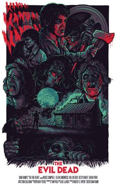 The Evil Dead by - Home of the Alternative Movie Poster -AMP- Best Horror Movies, Horror Films, Scary Movies, Horror Art, Funny Horror, Horror Icons, Great Movies, Rock Poster, Fan Poster