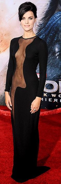 Who made Jaime Alexander's black mesh long sleeve gown that she wore in Hollywood?