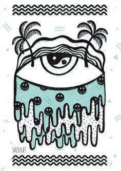 A3 Acid Eye Print by SalvajeShop on Etsy, $20.00