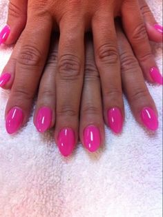 Pink gelish polish Almond nails