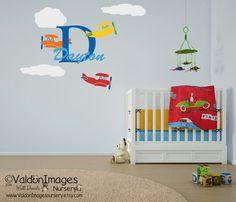 Airplane personalized wall decal by ValdonImagesNursery #nurserydecor #aviation…