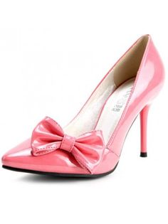 Patent Leather Pointed Toe Bow High Heels