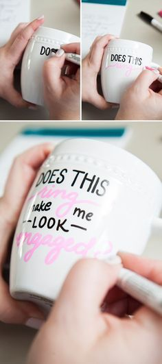 DIY Sharpie Paint Pen - Engagement Gift Mug engagement gift ideas