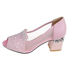 08326c1005f2 AllhqFashion Womens Peep Toe Cow Leather Kitten Heels Solid Sandals with  Chunky Heels Pink 7 BM