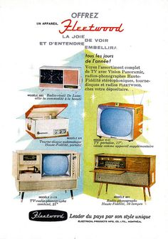 Vintage French Canadian ad for Fleetwood TVs and radios (1958).
