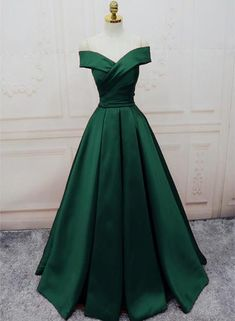 Apr 2020 - Green Satin Off Shoulder Lace-up Formal Gown, Senior Prom Dresses 2019 – BeMyBridesmaid Senior Prom Dresses, A Line Prom Dresses, Women's Dresses, Ball Dresses, Ball Gowns, Fashion Dresses, Summer Dresses, Wedding Dresses, Casual Dresses