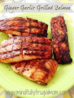 Ginger Garlic Grilled Salmon Recipe | very good!For the sauce: •1/4 cup soy sauce •1 tbsp molasses •1 tsp fresh grated ginger •2 garlic cloves, smashed •1 tsp black pepper Wisk all ingredients together in a small bowl. coat salmon fillets (both sides). Reserve some sauce use it to baste the salmon with while it's being grilled. Grill time is approximately 6-8 minutes per side.