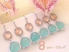 Bridesmaid Jewelry Set of 8 12% Off Mint and by Crystalshadow