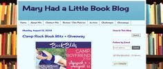 Mary's Little Book Blog is awesome! Check it out @ http://knoxdiver.blogspot.com/2013/08/camp-rock-blitz.html for giveaway of copies of Jennifer Armentrout's FRIGID, Amanda Sun's INK, CAMP BOYFRIEND, Advanced Readers Copies of Jenny Han and Laurie Halse Anderson's latest books, a I♥ My Camp Boyfriend Tee', and friendship bracelets. Second, third and fourth place winners get Amazon Gift Cards Open Internationally!