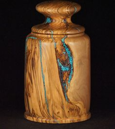Artistic wooden vessel of Olive wood with turquoise by woodsnature
