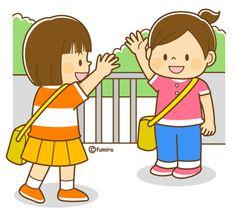 カバンに持ち物をつめる女の子とお母さんのイラスト(ぬりえ)