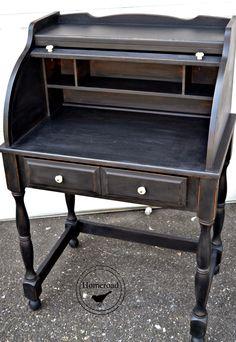 Roll Top Desk with Typewriter MMS Milk Paint www.homeroad.net