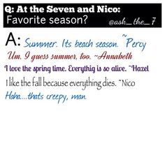 Q: At the Seven and Nico: Favourite Season?