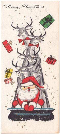 Vintage Greeting Card Christmas Santa Claus Reindeer Deer Sleigh Mid Century | eBay