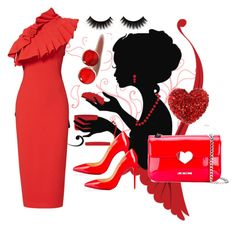 """""""Red dress"""" by amra83 ❤ liked on Polyvore featuring Osman, Christian Louboutin and Love Moschino"""