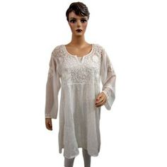Womens High Fashion Tunic Scoop Neck White Georgette Kurti Floral Embroidered Top L (Apparel)  http://www.picter.org/?p=B007NEXSWI