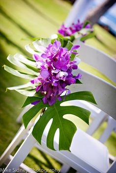 orchid Maui wedding chair flowers