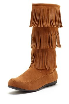 Details about Fringe Boots Indian Moccasin Vegan Suede 3 Tier ...