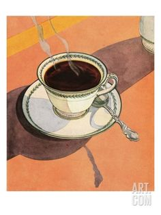 Illustration of Steaming Cup of Coffee Giclee Print