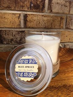 100 Soy candle Blue Spruce 12 ounce status jar by Samssoycandles, $16.00