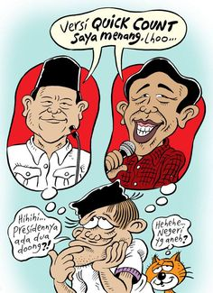 Both Indonesia president candidate declare themselves as the winner (based on theirs quick count).