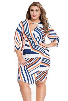 Multi Stripe Keyhole Wrap Plus Size Dress