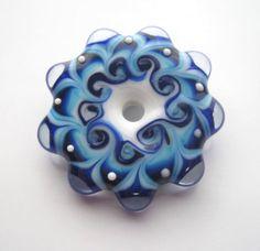 Batik Blue DIsc Handmade Lampwork Bead Casey Marie Schell Fine Art Glass
