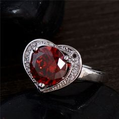 Silver Plated Heart Dark Red Cubic Zirconia Ring Size P