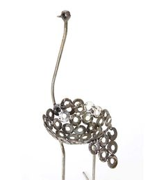 Small Recycled Metal Ostrich Plant Holders - On Back Order - Art & Sculpture Handmade in Africa - Swahili Modern - 3