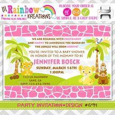 694: DIY - Queen Of The Jungle Party Invitation Or Thank You Card on Etsy, $11.00