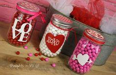 Valentine's Day Goodies - vinyl on mason jar - simple and cute