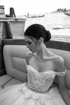 Off the shoulder Inbal Dror wedding dress | Bridal Musings Wedding Blog