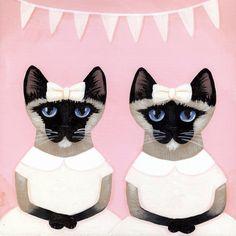 Los gemelos siameses Whimsical Cat arte popular por KilkennycatArt