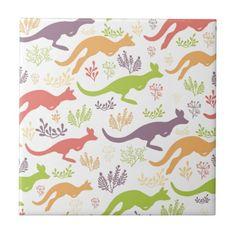 Jumping kangaroo pattern tile