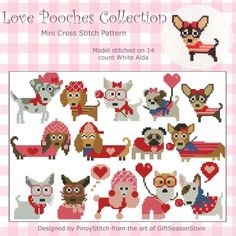 Love Pooches Dogs Collection Mini Cross Stitch PDF by PinoyStitch