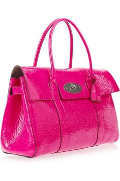 Mulberry Bayswater hot pink patent leather bag ~ love the color! Pink Handbags, New Handbags, Pink Leather, Patent Leather, Leather Bag, Leather Purses, Leather Handbags, Cute Purses, Cute Bags