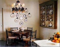 CDT's Top Ten Design Elements #6: Mirrors & wall decor.  Transferware plates in black, and wall hung shelf add interest.