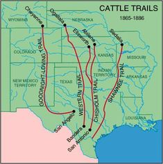These trails took herds of cattle to towns like Dod. These trails took herds of cattle to towns like Dodge City, where the - Texas History, Us History, Family History, American History, History Class, History Memes, Cattle Drive, History Lesson Plans, Republic Of Texas