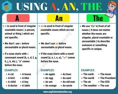 Definite and Indefinite Articles: Using A, An,The in English - English Study Online Articles In English Grammar, Article Grammar, English Grammar Rules, English Phonics, Learn English Grammar, English Writing Skills, English Vocabulary Words, Learn English Words, English Language Learning