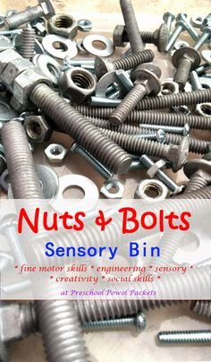 Nuts & Bolts Sensory Bin!  Strengthens fine motor skills while exercising engineering, sensory, social, and creative skills!  Loads of fun and SUPER easy to set up!