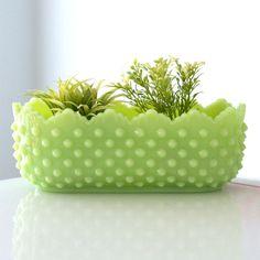 Jadite + hobnail planter