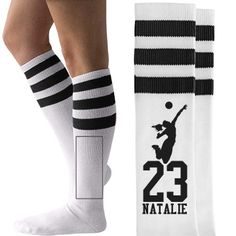 Sexy Football Girlfriend Unisex American Apparel Striped Knee-High Socks at Customized Girl! Volleyball Socks, Softball Shirts, Volleyball Mom, Cheerleading, Mom Shirts, Softball Stuff, Cheer Stuff, Volleyball Party, Volleyball Clothes