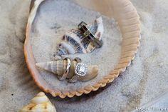Wedding rings & shells. Beach wedding