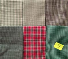 12 FAT QUARTERS or 6 HALF YDS QUILT quilting FABRIC multi PLAID HOMESPUN #71 new #HOMESPUN