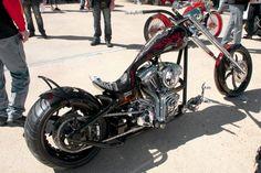 "Jeremy Jimenez's 110"" RevTech-powered radical custom bike photographed at the Rat's Hole Show."