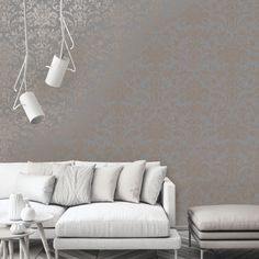 A damask inspired metallic wallpaper design in grey and rose gold from the Glistening Wallpaper Collection. Available at Go Wallpaper UK. Brick Effect Wallpaper, Luxury Wallpaper, Contemporary Wallpaper, Tree Wallpaper, Designer Wallpaper, Gold Metallic Wallpaper, Stunning Wallpapers, Paint Brands, Grey Roses